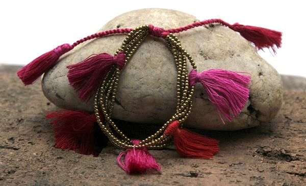 Fair Trade Hand Made Gold Color Beads With Red Tassels
