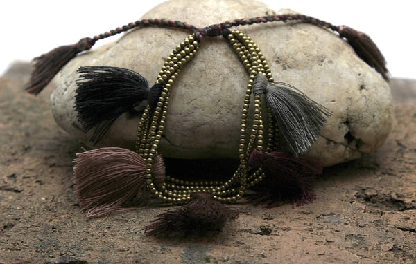 Fair Trade Hand Made Gold Color Beads With Brown Tassels