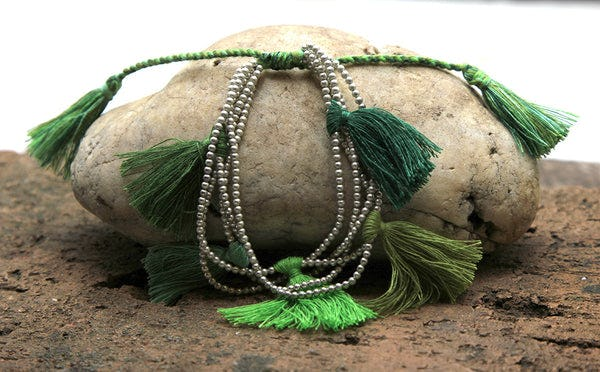 Fair Trade Hand Made Silver Color Beads With Green Tassels