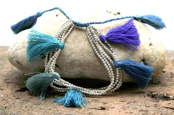 Fair Trade Hand Made Silver Color Beads With Blue Tassels
