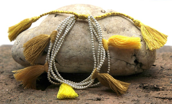 Fair Trade Hand Made Silver Color Beads With Yellow Tassels