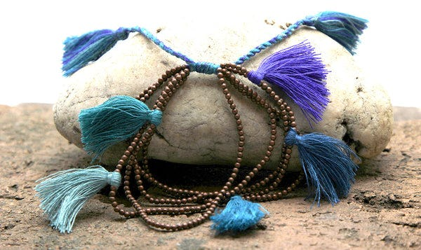 Fair Trade Hand Made Copper Color Beads With Blue Tassels
