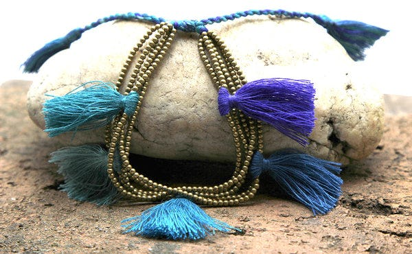 Fair Trade Hand Made Gold Color Beads With Blue Tassels