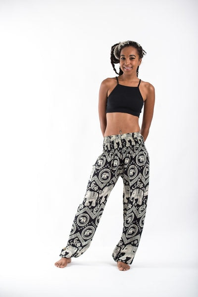 Imperial Elephant Women's Harem Pants in Black