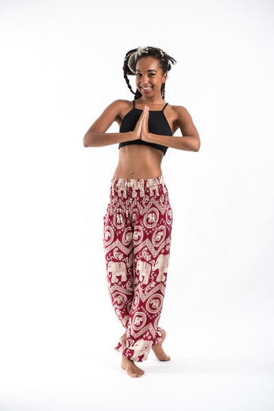 Imperial Elephant Women's Harem Pants in Red