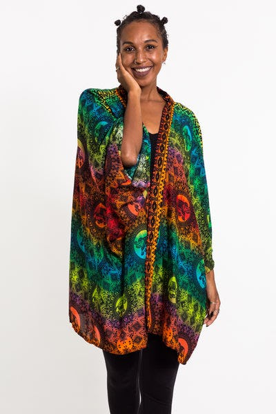 Rainbow Elephant Kimono Cardigan in Orange
