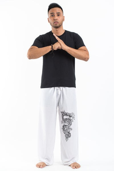 Dragon Men's Thai Yoga Pants in White