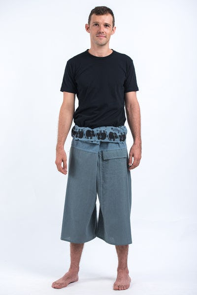 Men's Cropped Fisherman Pants with Pattern Waist Band in Blue Gray