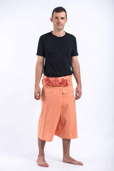 Men's Cropped Fisherman Pants with Pattern Waist Band in Light Orange