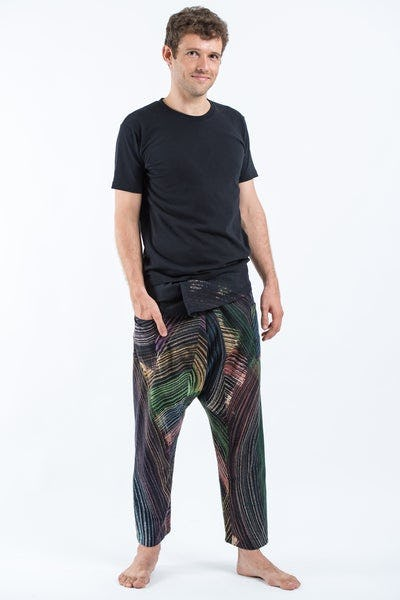 Rainbow Prints Men's Slim Cut Fisherman Pants in Black