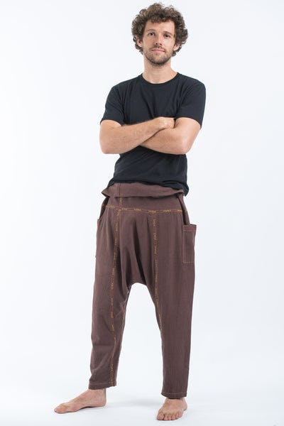 Hand Embroidered Men's Slim Cut Fisherman Pants in Brown