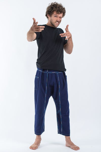 Hand Embroidered Men's Slim Cut Fisherman Pants in Navy