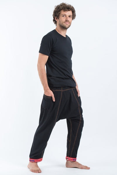Hand Embroidered Men's Slim Cut Fisherman Pants in Black