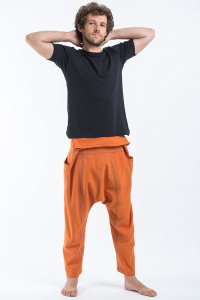 Hand Embroidered Men's Slim Cut Fisherman Pants in Orange
