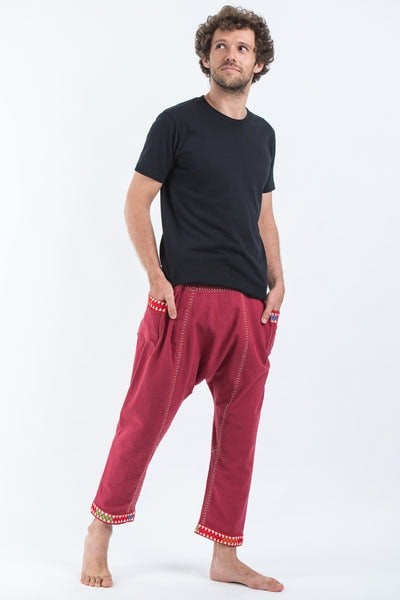 Hand Embroidered Men's Slim Cut Fisherman Pants in Red