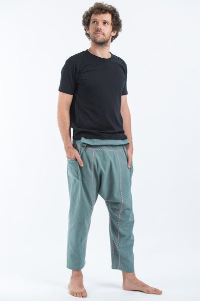 Hand Embroidered Men's Slim Cut Fisherman Pants in Teal