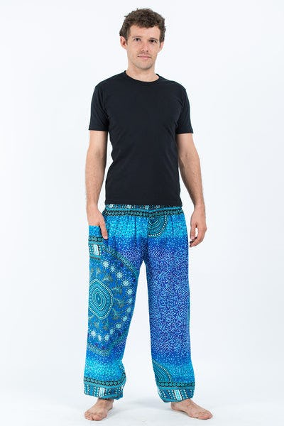 Tribal Chakras Men's Harem Pants in Blue