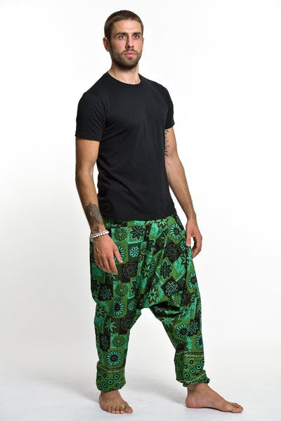 Flowers Print Cotton Men's Harem Pants In Green
