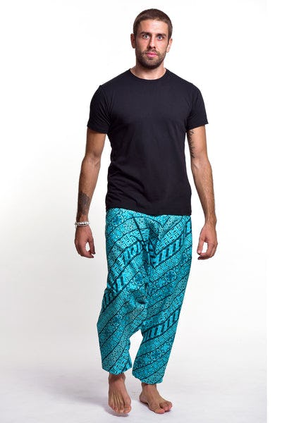 Aztec Print Cotton Men's Harem Pants In Blue