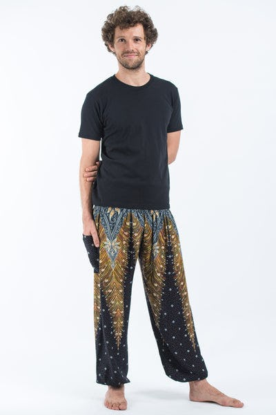Peacock Feathers Men's Harem Pants in Black