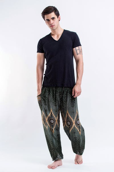Diamond Peacock Men's Harem Pants in Green