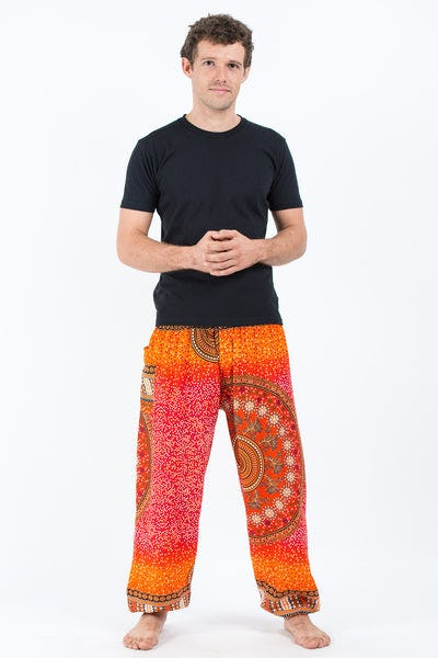 Tribal Chakras Men's Harem Pants in Orange