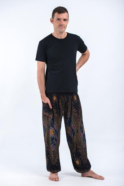 Peacock Eye Men's Harem Pants in Black