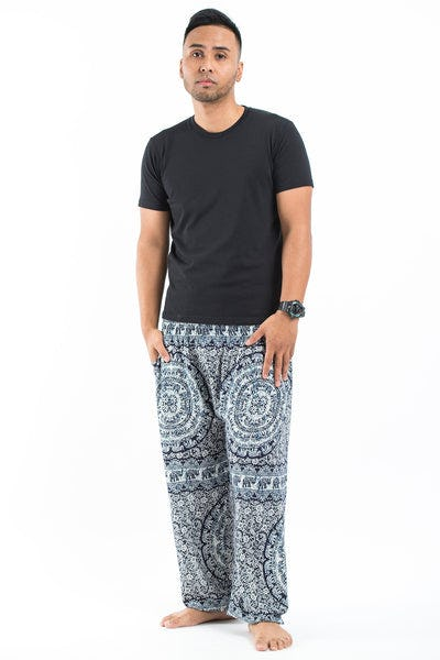 Paisley Elephant Men's Elephant Pants in Blue