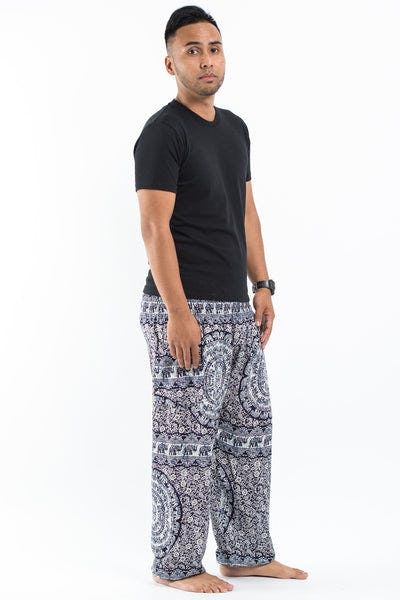 Paisley Elephants Men's Harem Pants in Blue