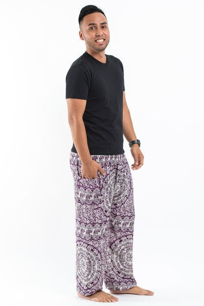 Paisley Elephants Men's Harem Pants in Purple