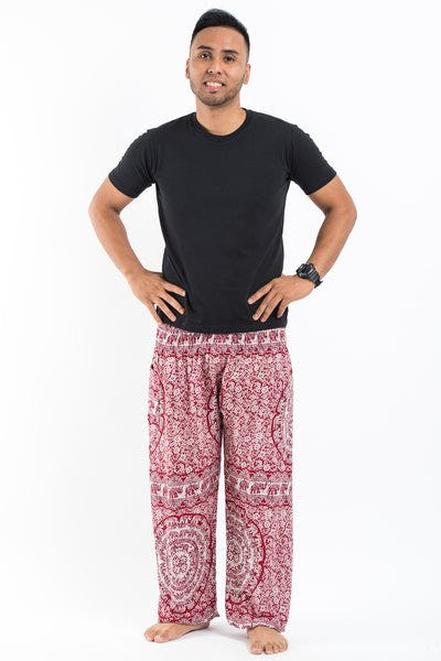 Paisley Elephant Men's Elephant Pants in Red