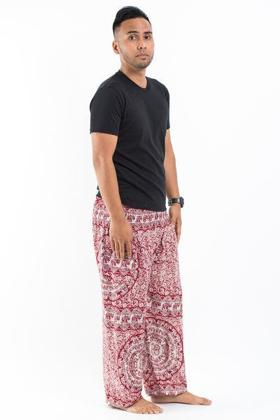 Paisley Elephants Men's Harem Pants in Red