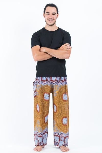 Mandala Elephants Men's Harem Pants in Bronze