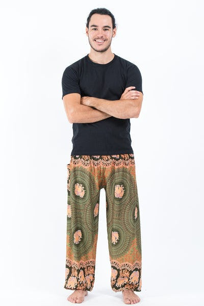 Mandala Elephant Men's Elephant Pants in Olive