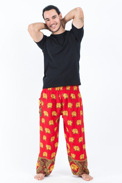 Golden Elephants Men's Harem Pants in Red