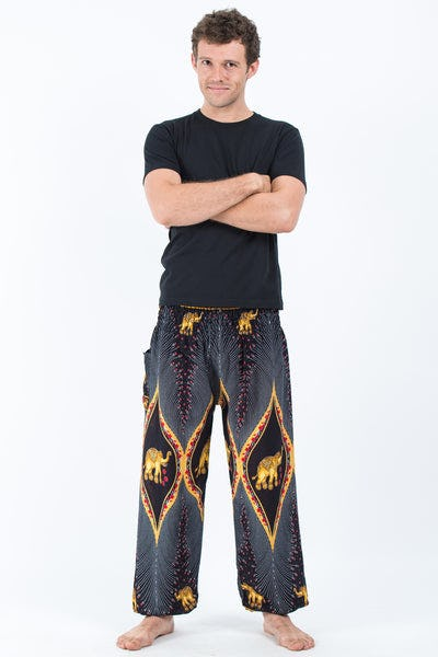 Peacock Elephants Men's Harem Pants in Black