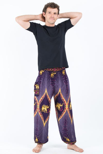 Peacock Elephants Men's Harem Pants in Purple