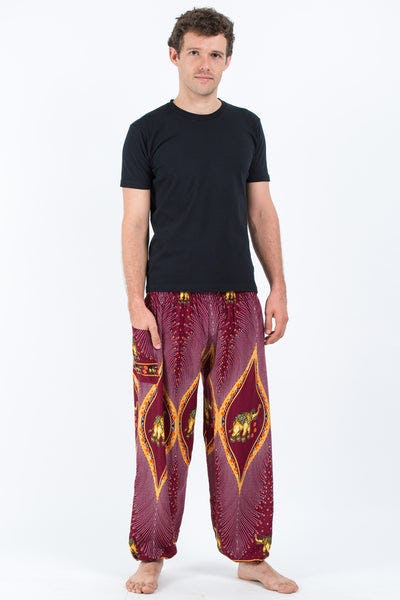 Peacock Elephants Men's Harem Pants in Red