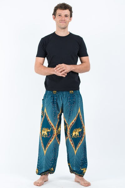 Peacock Elephants Men's Harem Pants in Turquoise