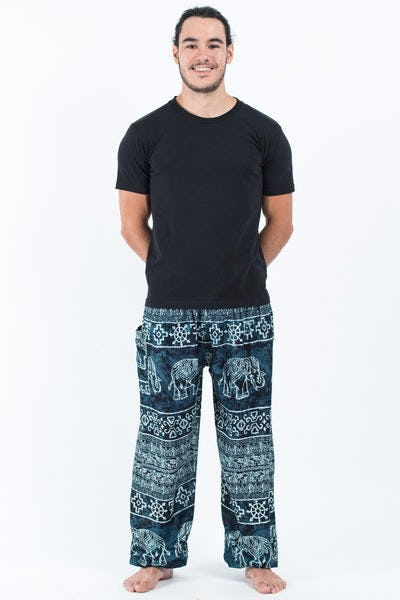 Marble Elephants Men's Harem Pants in Black