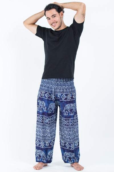 Marble Elephants Men's Harem Pants in Blue
