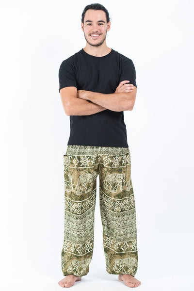 Marble Elephants Men's Harem Pants in Olive