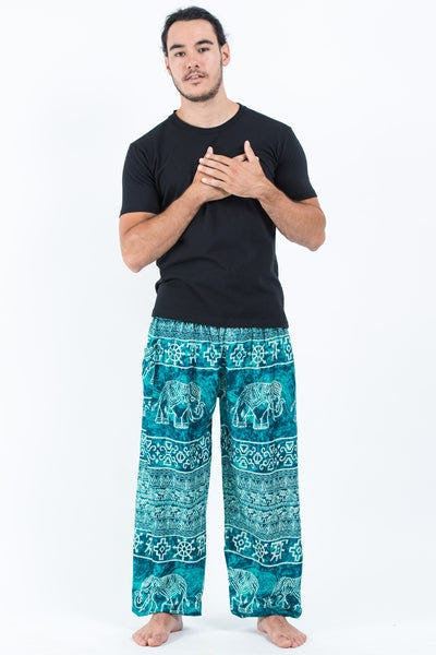 Marble Elephants Men's Harem Pants in Turquoise