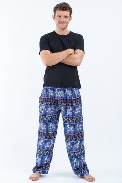 Aztec Elephant Men's Elephant Pants in Blue