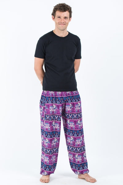Aztec Elephant Men's Elephant Pants in Purple