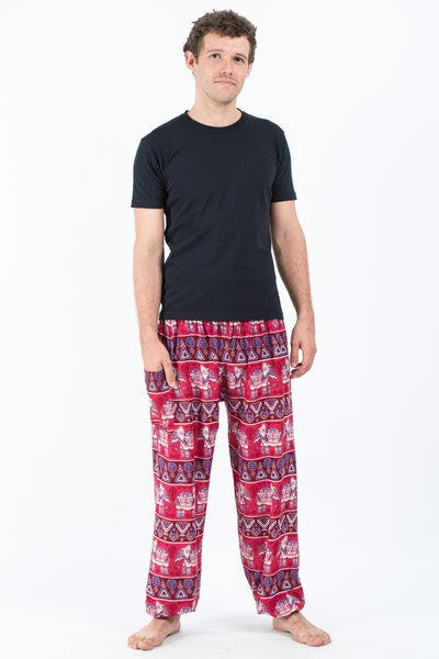 Aztec Elephant Men's Elephant Pants in Red