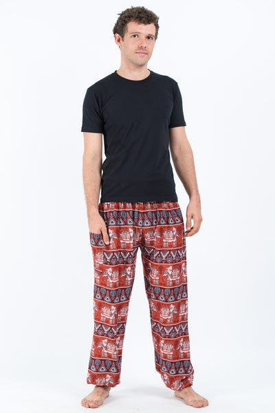 Aztec Elephants Men's Harem Pants in Rust