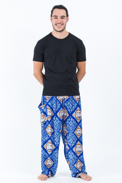 Diamond Elephants Men's Harem Pants in Blue