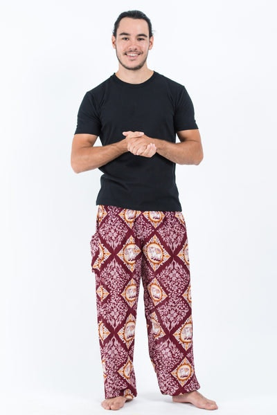 Diamond Elephants Men's Harem Pants in Red