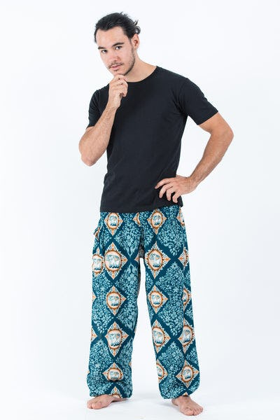 Diamond Elephants Men's Harem Pants in Turquoise